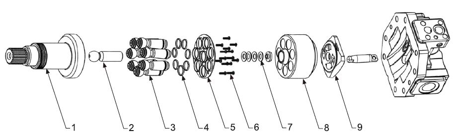 Схема гидронасоса A6VM107