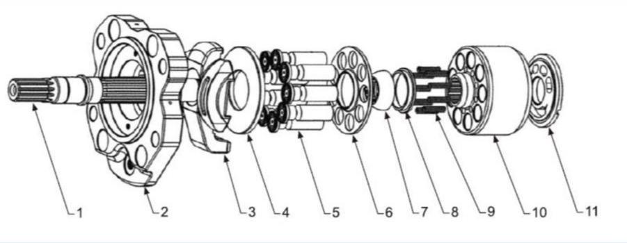 Схема гидронасоса K3V63DT