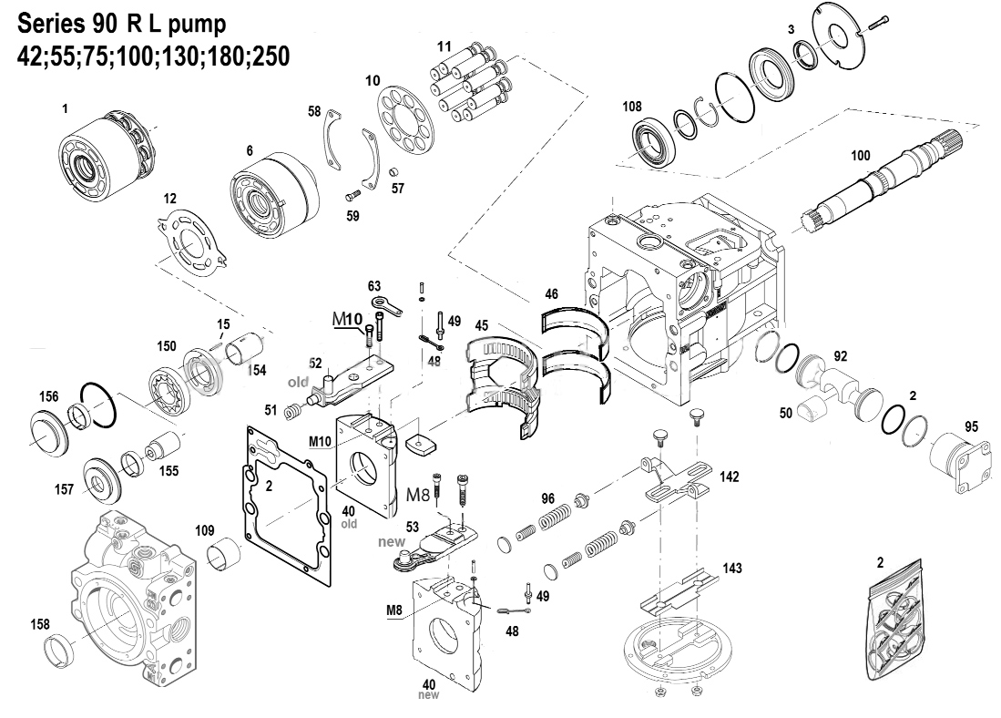 Схема гидронасоса PV90R130