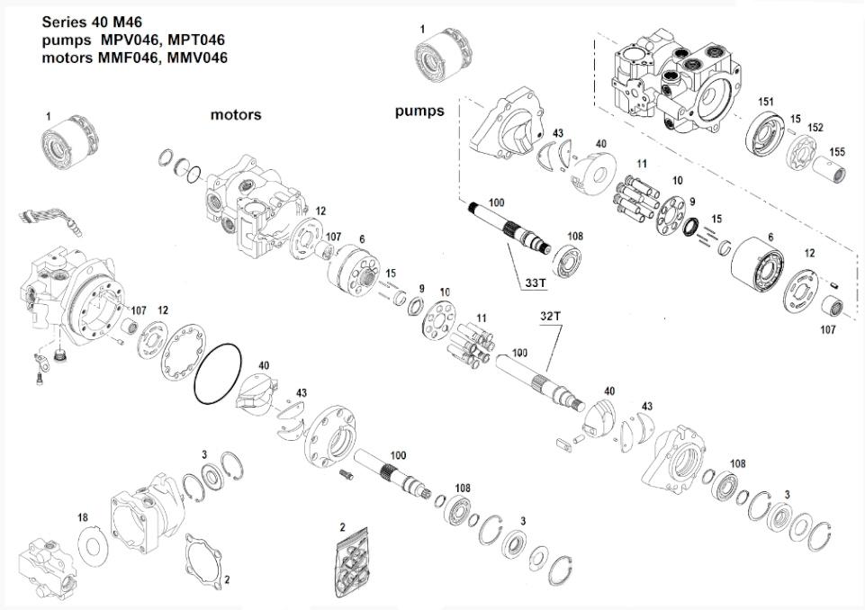 Схема гидронасоса MPT046