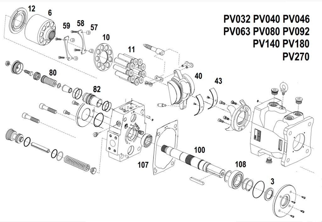Схема гидронасоса PV092