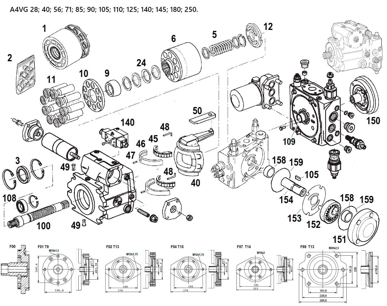 Схема гидронасоса A4VG140
